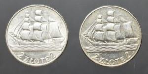 II Rzeczpospolita, Zestaw 2 x 2 złote 1936 żaglowiec