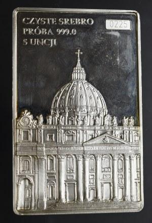 Plakieta Św. Jan Paweł II + 2 złote GN - 5 uncji czystego srebra