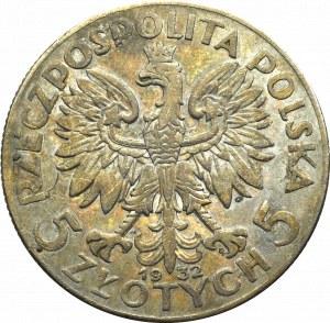 II Rzeczpospolita, 5 złotych 1932 ZZM Głowa kobiety