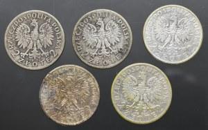 II Rzeczpospolita, Zestaw 5 x 2 złote Głowa kobiety
