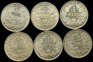 Niemcy, Zestaw 1 marka (6 egz) - każda inna