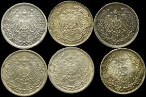 Niemcy, Zestaw 1/2 marki (6 egz) - każda inna