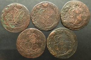 Rosja, Katarzyna II, Zestaw 5 kopiejek 1759-1770