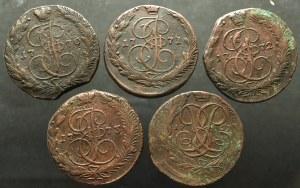 Rosja, Katarzyna II, Zestaw 5 kopiejek 1759-1773