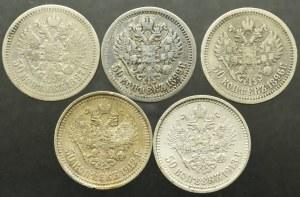 Rosja, Mikołaj II, Zestaw 50 kopiejek 1896-1913 (5 egz)