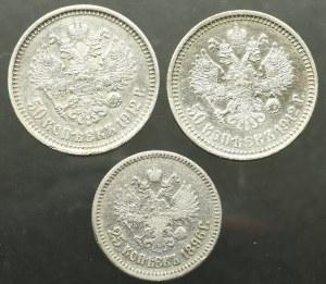 Rosja, Mikołaj II, Zestaw 50 kopiejek 1912 i 25 kopiejek 1896