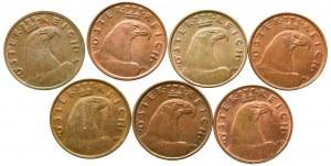 Austria, Zestaw 1 grosz 1925-1935 (7 egzemplarzy)