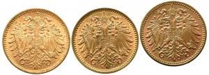 Austria, zestaw 1 heller 1894 - 1902 (3 egzemplarze)