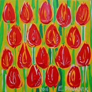 Edward Dwurnik, Czerwone tulipany (2016)