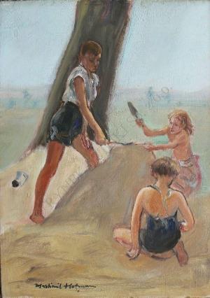 """Wlastimil Hofman (1881-1970), Zabawa dzieci (Szkic do """"Słowiańskiego viribus unitis"""")"""