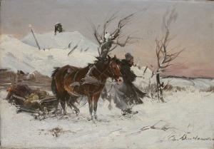Czesław Wasilewski(1875-1946/47), Scena zimowa z zaprzęgiem i woźnicą