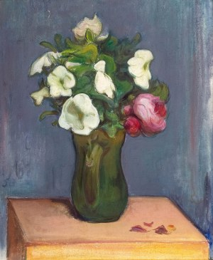 Władysław Ślewiński (1856 Białyń – 1918 Paryż), Białe petunie i czerwone róże, ok. 1904 r.