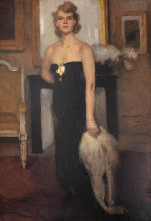 Alfons Karpiński (1875 Rozwadów - 1961 Kraków), Portret Pani J., 1952 r.