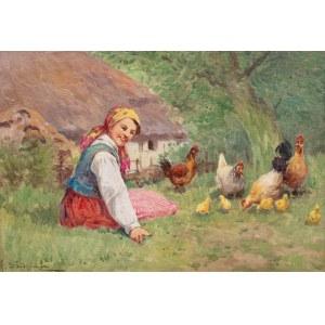 Adam Setkowicz (1875 Kraków - 1945 tamże), Dziewczyna z kurami