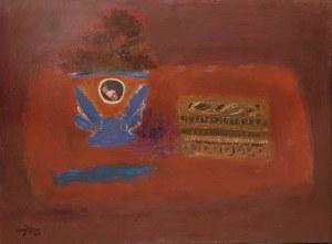 Henryk Hayden (1883 Warszawa - 1970 Paryż), Martwa natura z niebieskim wazonem i pudełkiem krawieckim, 1964 r.
