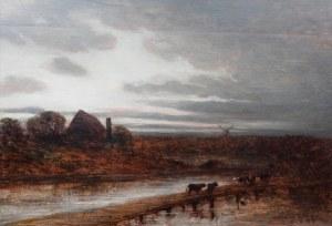 Eduard Schleich (1812 Haarbach - 1874 Monachium), Wieczór na wsi