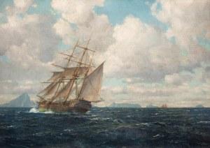 Michael Zeno Diemer (1867 Monachium - 1939 Oberammergau), Trójmasztowiec na morzu