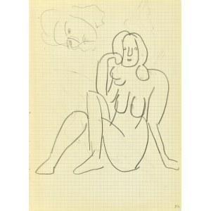 Jerzy Panek (1918-2001), Akt siedzącej kobiety z założonymi nogami oraz szkic głowy kobiety