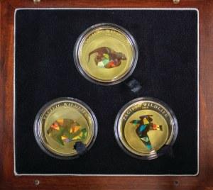 3 monety prezentujące faunę Pacyfiku