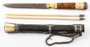 NÓŻ PASTERSKI Z PAŁECZKAMI, Mongolia, XIX / XX w.
