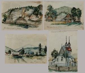 Tadeusz SEWERYN (1894-1975), Zestaw 4 prac - Pejzaże z Jeleśni