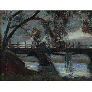 Stanisław BORYSOWSKI (1906-1988), Pejzaż z mostkiem o zmierzchu