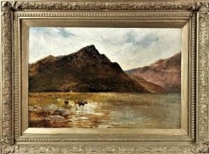 Alfred Fontville de BREANSKI - przypisywany, XIX / XX w., Pejzaż górski z krowami