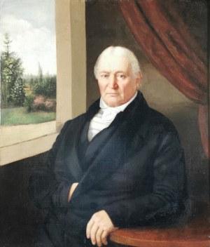 Malarz nieokreślony, XIX w., Portret mężczyzny z pejzażem w tle