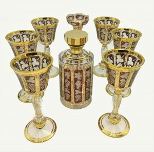 Firma EGERMANN, Zestaw do wina: karafka, 6 kieliszków + świecznik