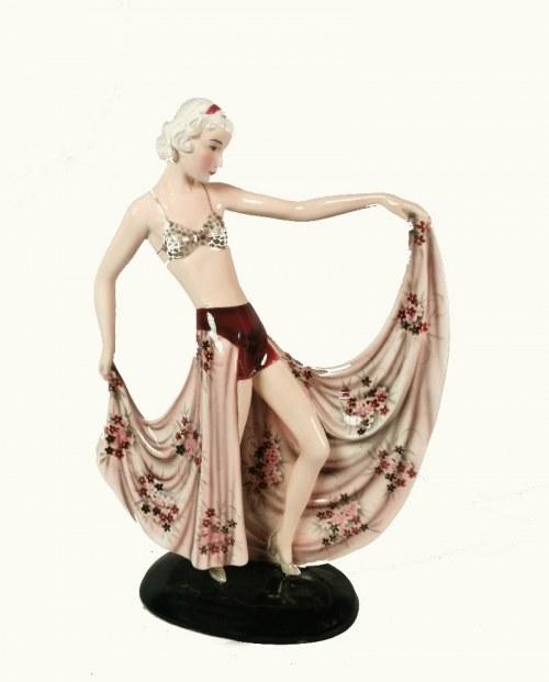 Wytwórnia WALTERA GOLDSCHEIDERA, Frasquita (Tancerka w kwiecistej spódnicy) - figurka art déco