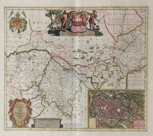 Jonas SCULTETUS (1603-1664), Johannes van den AVEELE (1655-1727) - rytował, Mapa Księstwa Wrocławskiego
