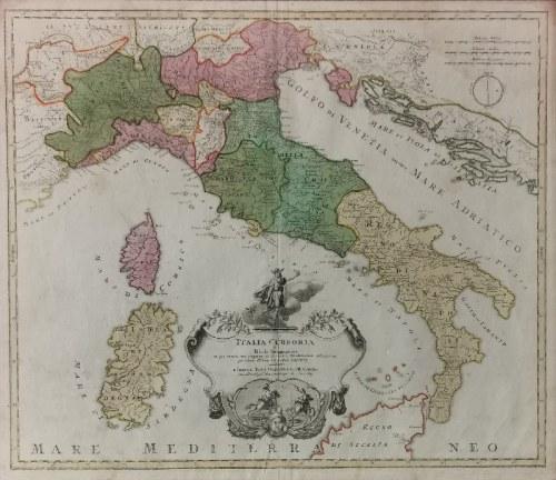 Johann Baptist HOMANN (1664-1724), Mapa Włoch i Morza Śródziemnego