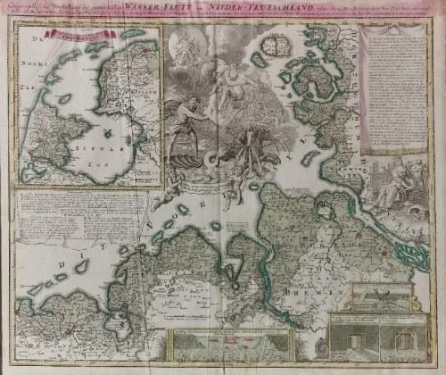 Johann Baptist HOMANN (1664-1724), Mapa Północnej Holandii i wybrzeży Niemiec