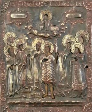 Ikona - Jan Chrzciciel wśród świętych niewiast i mężów, w okładzie