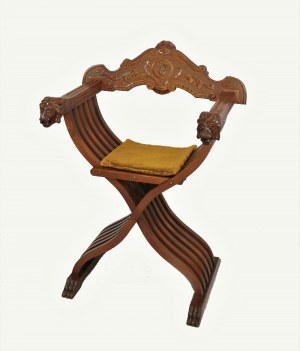 Fotel składany - krzyżakowy w stylu neorenesansowym