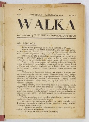 WALKA. Tygodnik polityczny, społeczny, literacki. Redaktor-wydawca Tadeusz Wieniawa-Długoszowski. Warszawa. 8
