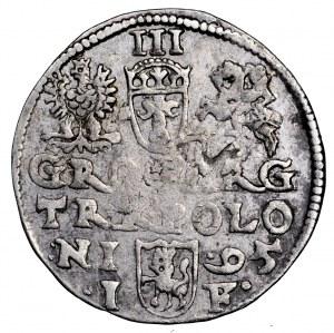 Zygmunt III Waza, trojak 1595, Olkusz - leżąca 9