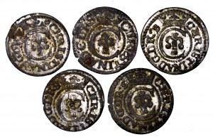Szwedzka okupacja Rygi i Inflant, Krystyna Waza, zestaw 5 szelągów - piękne