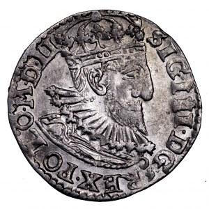 Zygmunt III Waza, trojak 1593, Olkusz - trójliść i ozdobnik pod kryzą