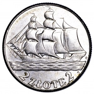 II Rzeczpospolita, 2 złote 1936, Żaglowiec - wyśmienite