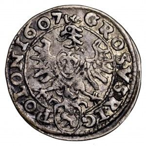 Zygmunt III Waza, grosz 1607, Kraków - ładny