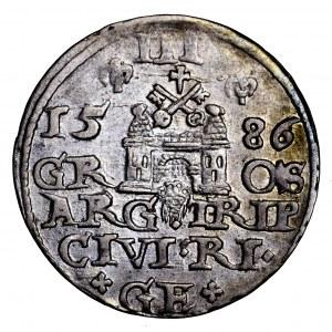 Stefan Batory, trojak 1586, Ryga - mała głowa