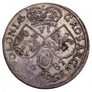 Jan III Sobieski, szóstak 1685, Kraków - szerokie popiersie, C między tarczami