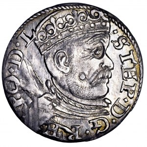 Stefan Batory, trojak 1585, Ryga - ładny
