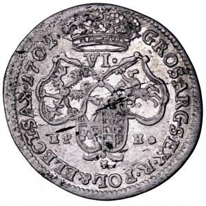 August II Mocny, szóstak 1702 EPH, Lipsk - piękny