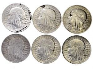 II Rzeczpospolita zestaw 6 x 5 złotych Polonia