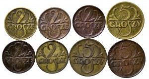 II Rzeczpospolita, zestaw 8 monet groszowych