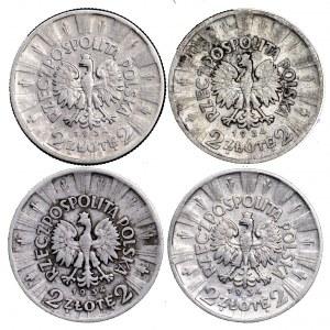 II Rzeczpospolita, zestaw 4 x 2 złote 1934 Piłsudski