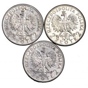 II Rzeczpospolita, zestaw 3 x 2 złote Polonia