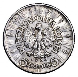 II Rzeczpospolita, 5 złotych 1934, Piłsudski - urzędowy